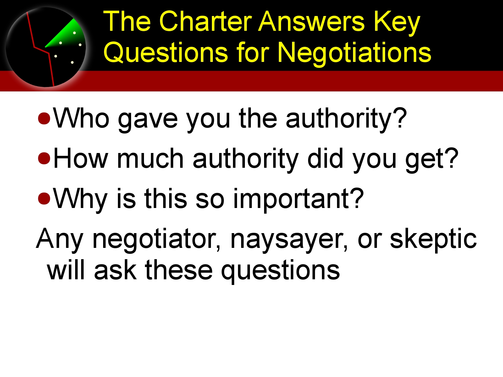 Charters and Negotiations
