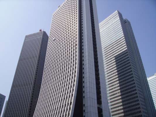 Three skyscrapers in the Shinjuku district of Tokyo