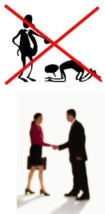 Employee bowing before his manager, with a red 'X' over the image. A business man and woman shaking hands below.